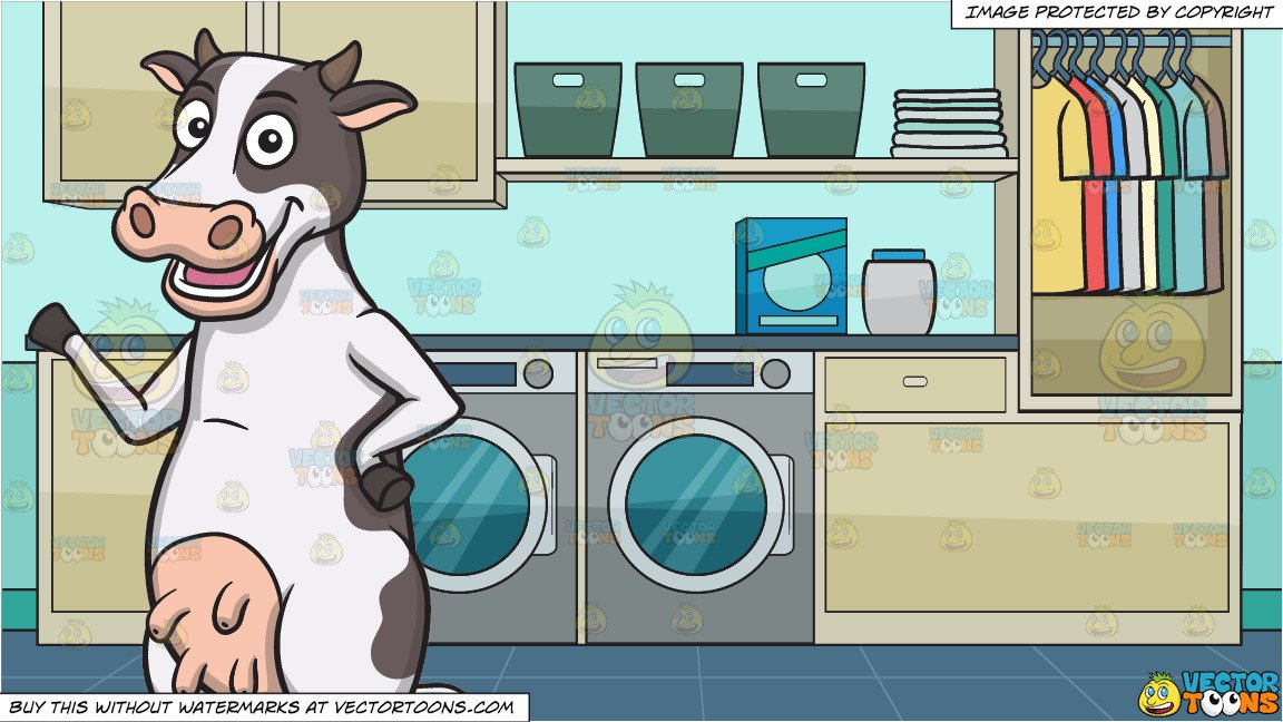 Laundry room clipart picture transparent A Friendly Cow and A Laundry Room Background picture transparent