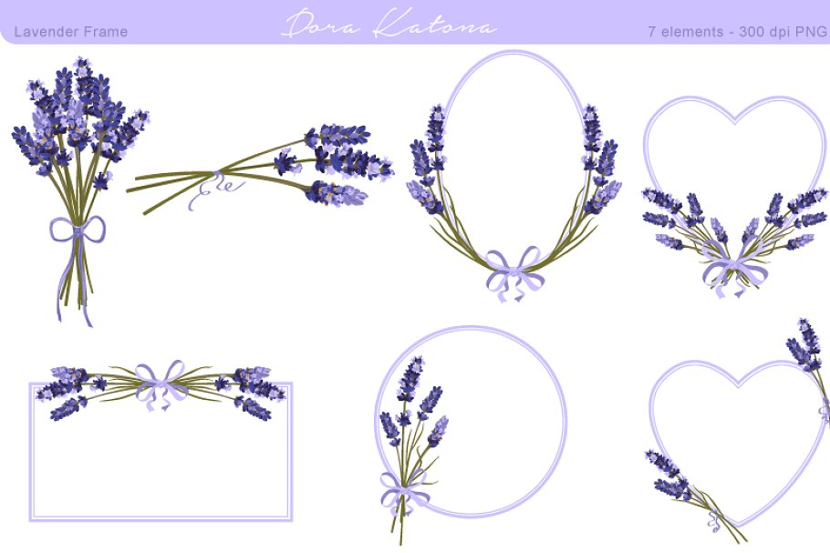 Lavendar clipart vector freeuse download Lavender Flower Frame and Clipart vector freeuse download