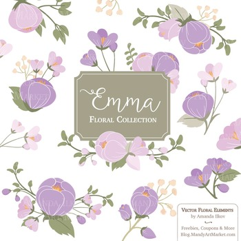 Lavender clipart vector image freeuse download Emma Collection Floral Clipart & Vectors in Lavender - Flower Clip Art,  Flowers image freeuse download