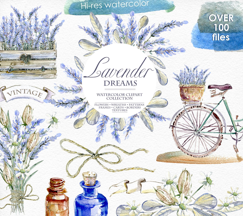 Lavender watercolor clipart jpg download Lavender WATERCOLOR clipart set jpg download