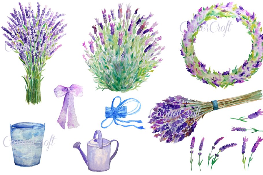Lavender watercolor clipart picture library Watercolour Lavender Clip Art picture library