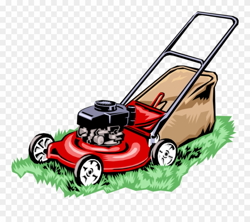 Push mower clipart graphic black and white library Vector Illustration Of Yard Work Lawn Mower Cuts Grass - Lawn Mower ... graphic black and white library