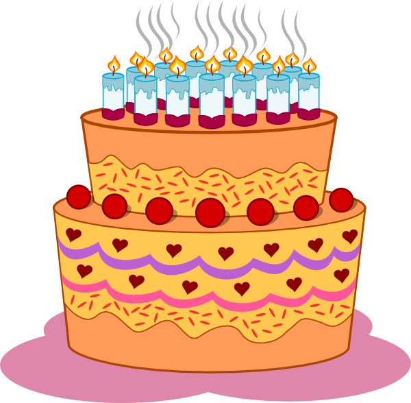 Tiered birthday cake clipart png black and white Layered Birthday Cake Clip Art at Clker.com - vector clip art ... png black and white