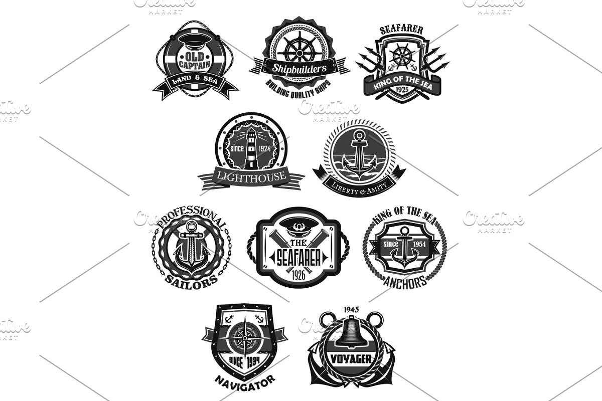 Layered cruise captain hat clipart black and white download Nautical emblem and marine heraldic badge set download