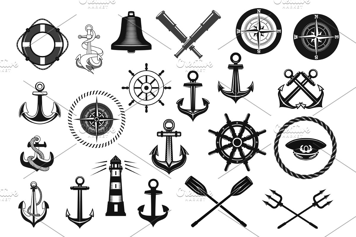 Layered cruise captain hat clipart black and white picture freeuse download Nautical icon set with anchor, helm and rope picture freeuse download