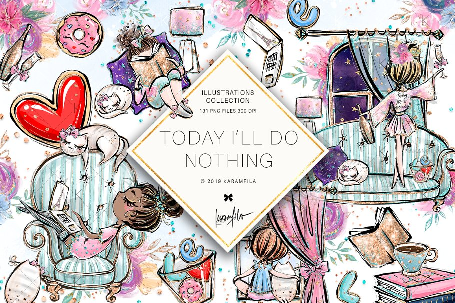 Lazy day clipart jpg transparent download Lazy Day Clipart ~ Illustrations ~ Creative Market jpg transparent download