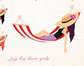 Lazy day clipart png black and white download Lazy Day Clipart, Girls Resting On A Hammock. Summer Png ... png black and white download