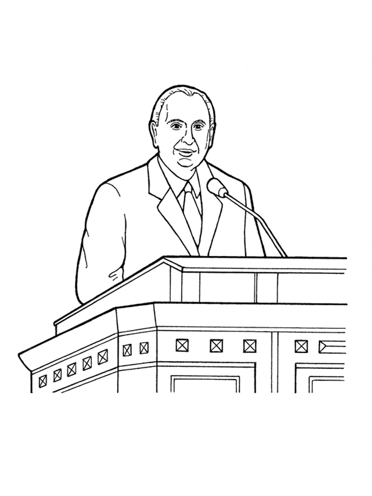 Lds black and white clipart of prophets vector black and white Thomas S. Monson Speaking at General Conference vector black and white