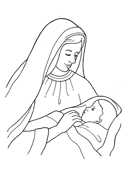 Lds clipart baby jesus vector free stock Nativity: Mary with Baby Jesus vector free stock