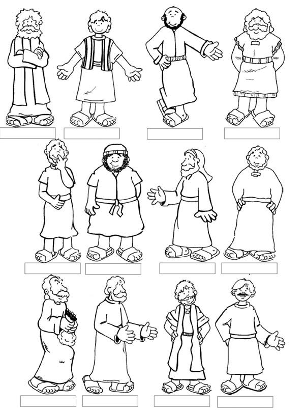 Lds clipart black and white jesus and the twelve disciples jpg free Jesus 12 Disciples Coloring Page | Bible lessons | Sunday ... jpg free