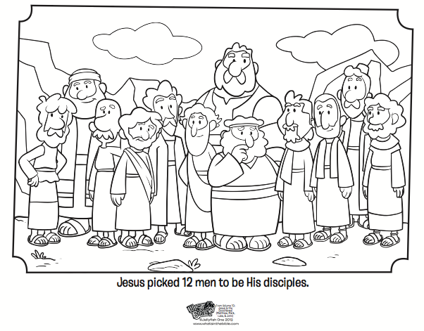 Lds clipart black and white jesus and the twelve disciples graphic freeuse 12 Disciples Coloring Page - Bible Coloring Pages | Bible ... graphic freeuse