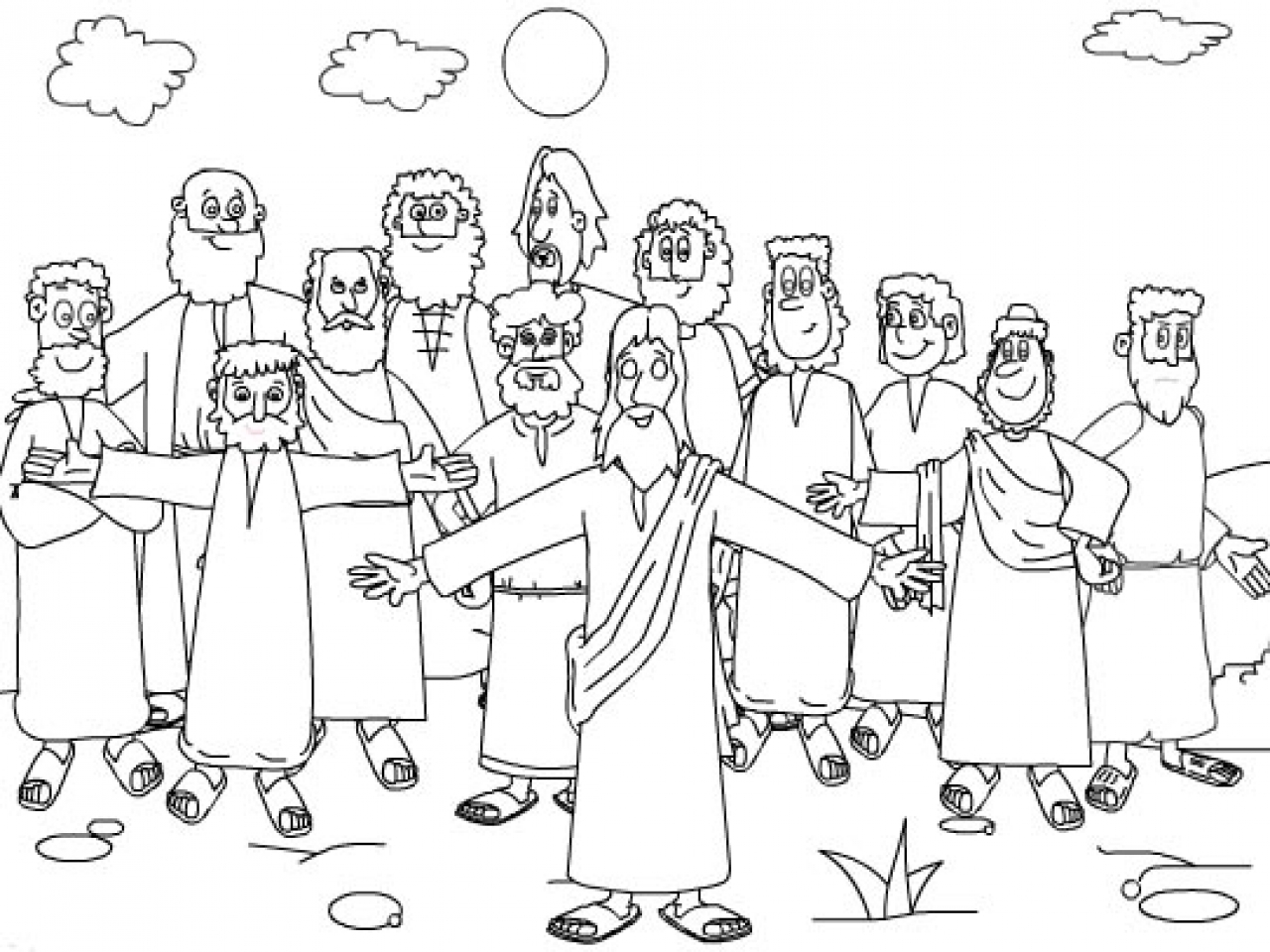 Lds clipart black and white jesus and the twelve disciples jpg royalty free download Twelve Disciples Coloring Page - Coloring Home jpg royalty free download