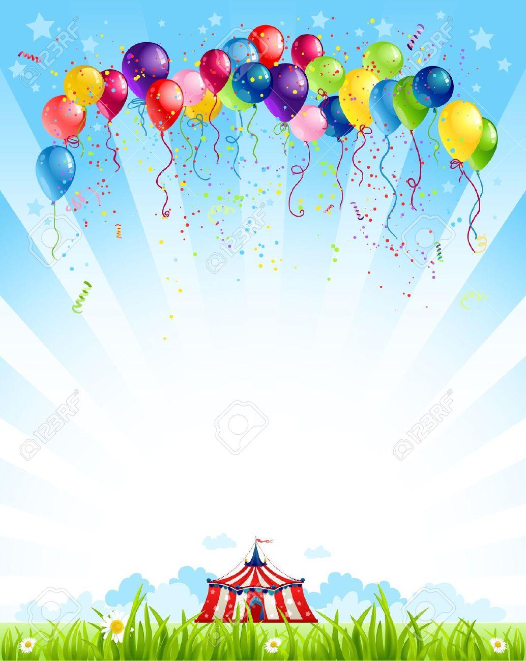 Le ciel clipart image free stock Voyager Cirque Sous Le Ciel Bleu Et Bouquet De Ballons Clip Art ... image free stock