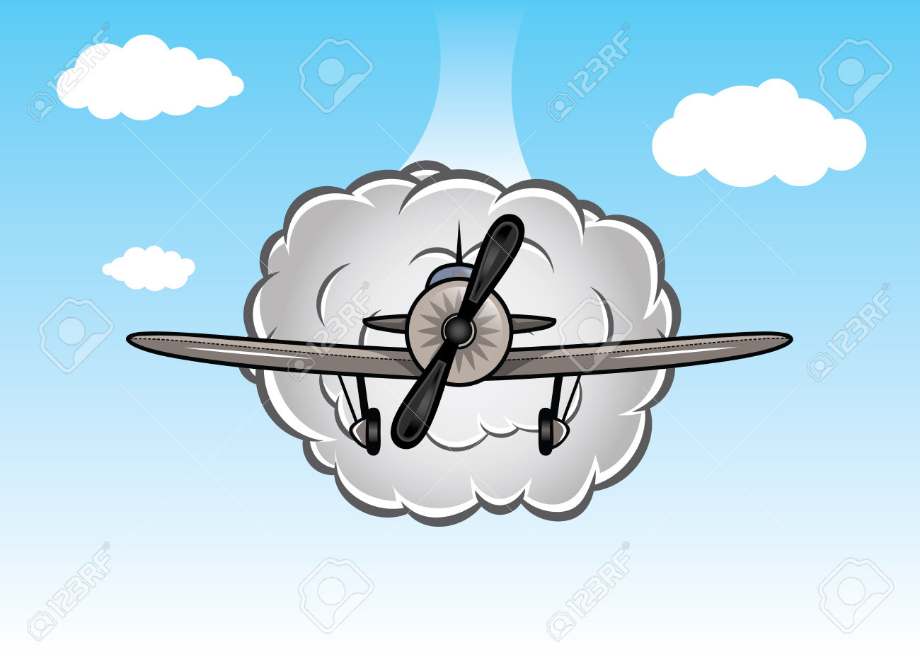 Le ciel clipart jpg transparent stock Cartoon Biplan Sur Le Ciel Avec Des Nuages Clip Art Libres De ... jpg transparent stock