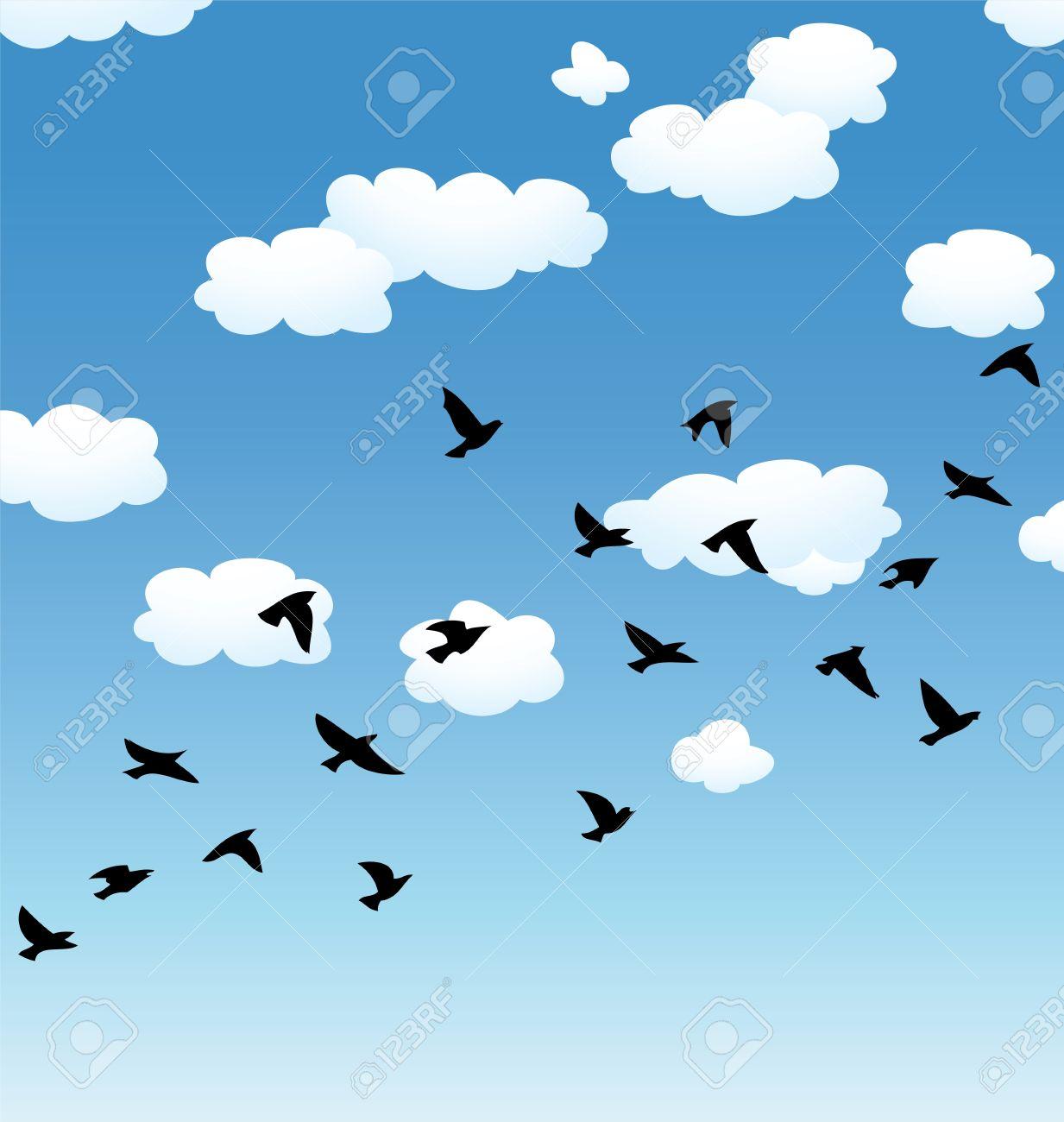 Le ciel clipart banner royalty free download Vecteur Vol D'oiseaux Volants Et Des Nuages ??dans Le Ciel Clip ... banner royalty free download
