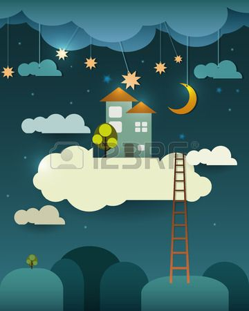 Le ciel clipart vector royalty free download Résumé Papier-fantasy Sweet Home-moon à La Maison Avec étoiles ... vector royalty free download