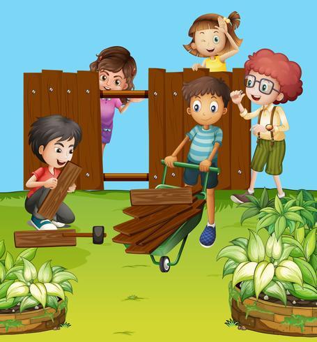 Le jardin clipart tobogan clip freeuse library Enfants fixant une clôture dans le jardin - Téléchargez de l\'art ... clip freeuse library