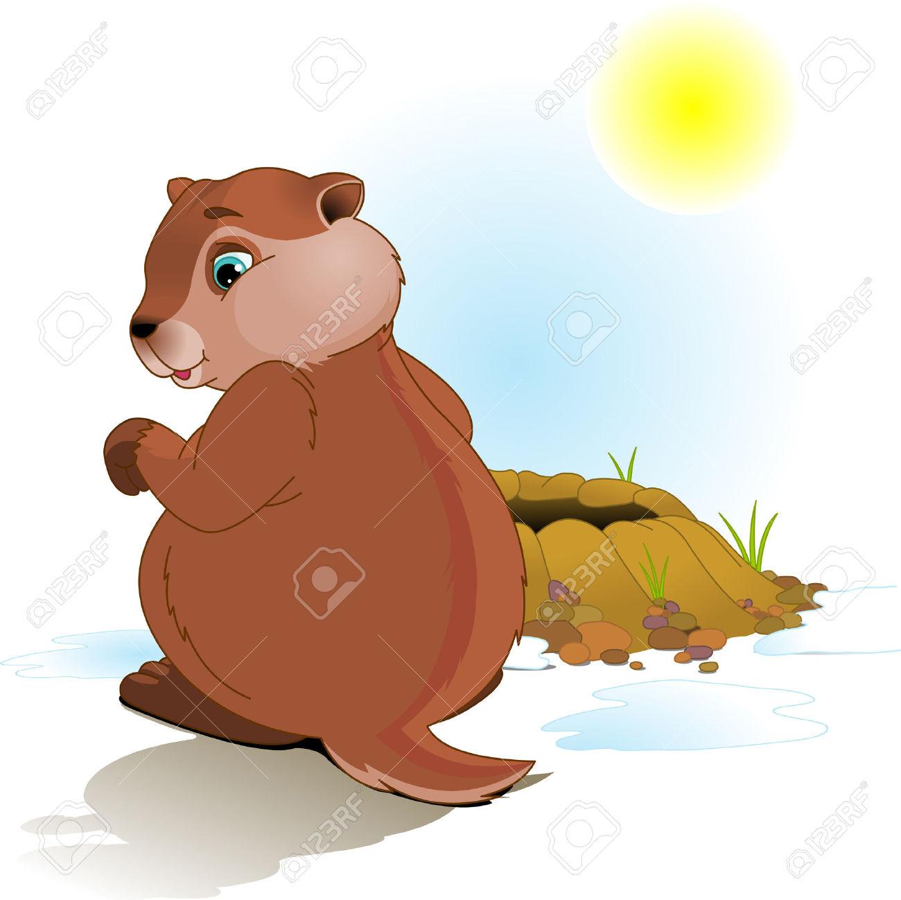 Le jour clipart freeuse stock Illustration Pour Le Jour De La Marmotte. Marmotte Regarde Son ... freeuse stock