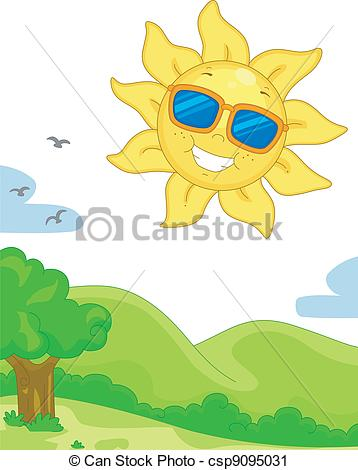 Le jour clipart clipart black and white stock Vector Clip Art of Sunny Day - Illustration Featuring a Sunny Day ... clipart black and white stock