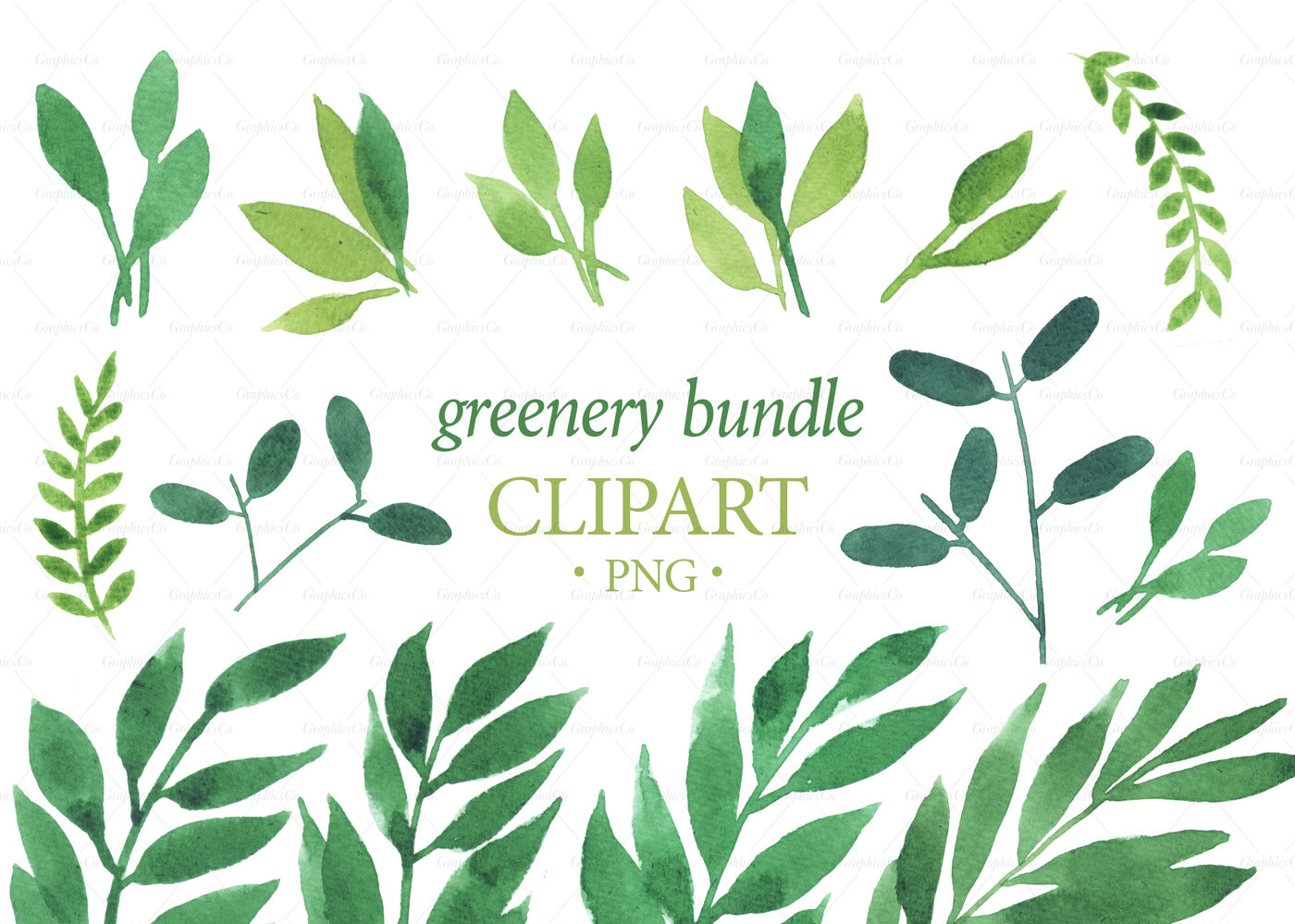 Leaf graphics clipart png transparent library GREENERY BUNDLE png. Greenery watercolor graphics. decoration card ... png transparent library