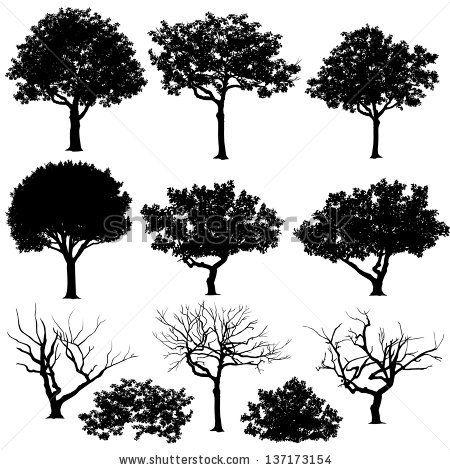 Leaf row silhouette clipart clipart freeuse library Vectores de árboles en siluetas. Cree muchos más árboles con hojas ... clipart freeuse library