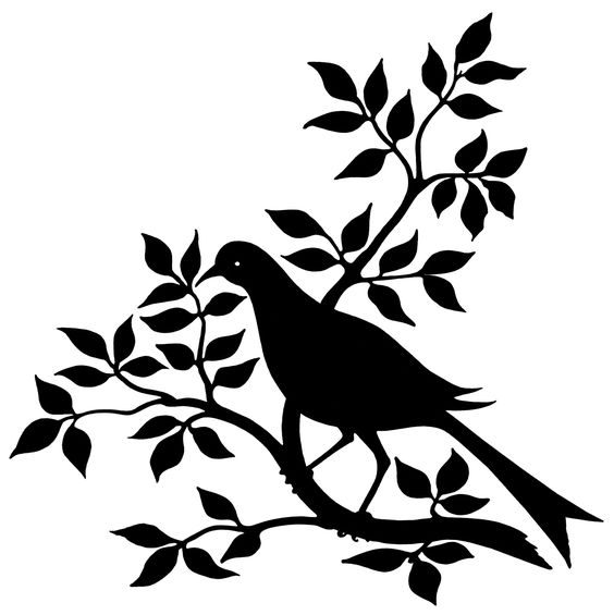 Leaf row silhouette clipart graphic free bird branch silhouette, black and white graphic, vintage bird clip ... graphic free