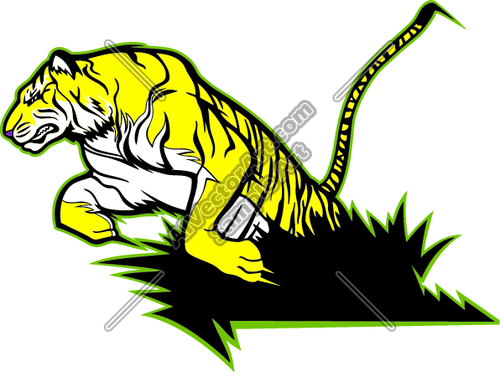 Tiger clipart leaping clipart freeuse download Tiger Leaping Out Bush Clipart and Vectorart: Animals - Tigers ... clipart freeuse download