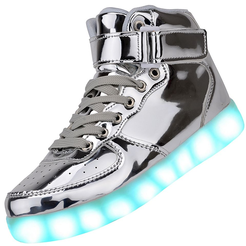 Led shoes clipart png free download Men High Top USB Charging LED Light Up Shoes Flashing Sneakers - Silver png free download