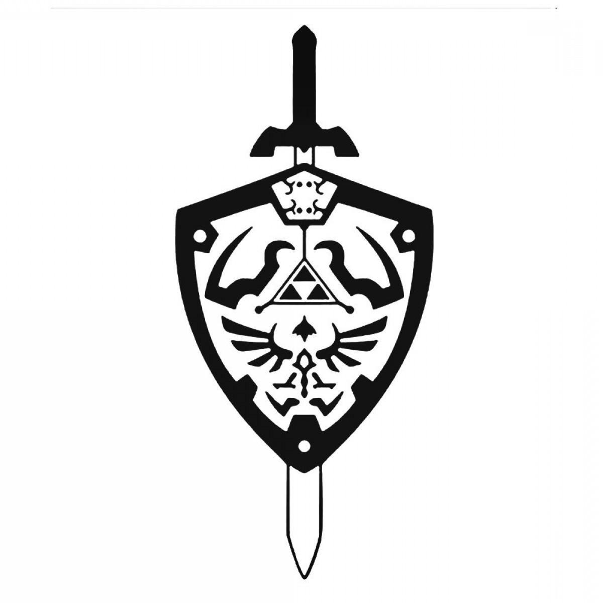 Legend of zelda sword and shild clipart banner black and white Legend Of Zelda Sword Shield Decal Sticker   SOIDERGI banner black and white