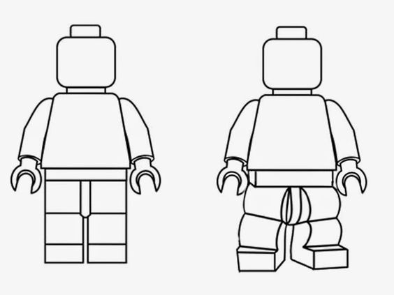 Lego character clipart black and white graphic library stock Simple black and white clipart LEGO Minifigures outline silhouette ... graphic library stock