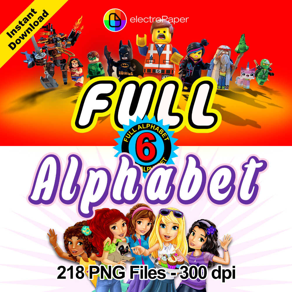 Lego friends clipart png black and white library LEGO + LEGO FRIENDS - 6 Full Alphabet Clipart - 218 png files 300 ... png black and white library