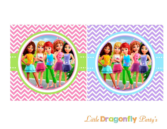 Lego friends clipart freeuse library Lego Friends Colorful Happy Birthday Banner DIY Instant freeuse library