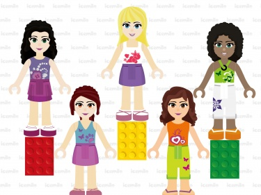 Lego friends clipart banner black and white stock Lego Friends Digital Clipart | Meylah banner black and white stock