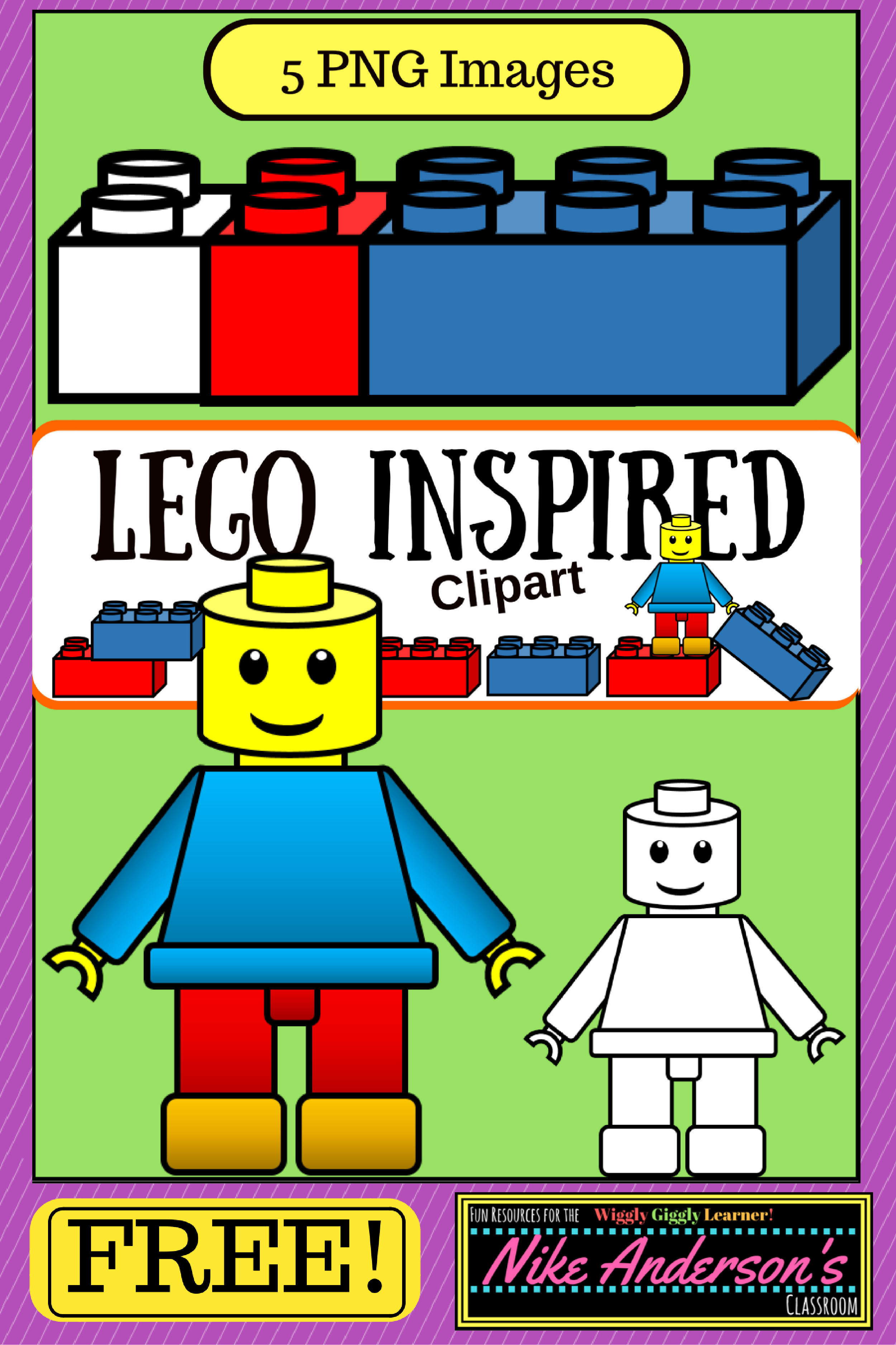 Lego intergalactic girl clipart images no background banner transparent stock LEGO Inspired KIDS Clipart   FREEBIE   Construction Play for ... banner transparent stock