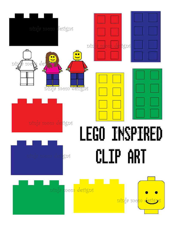 Lego pieces clipart clip art free library Building Block Brick Clip Art in Color and Black Line | Pinterest ... clip art free library