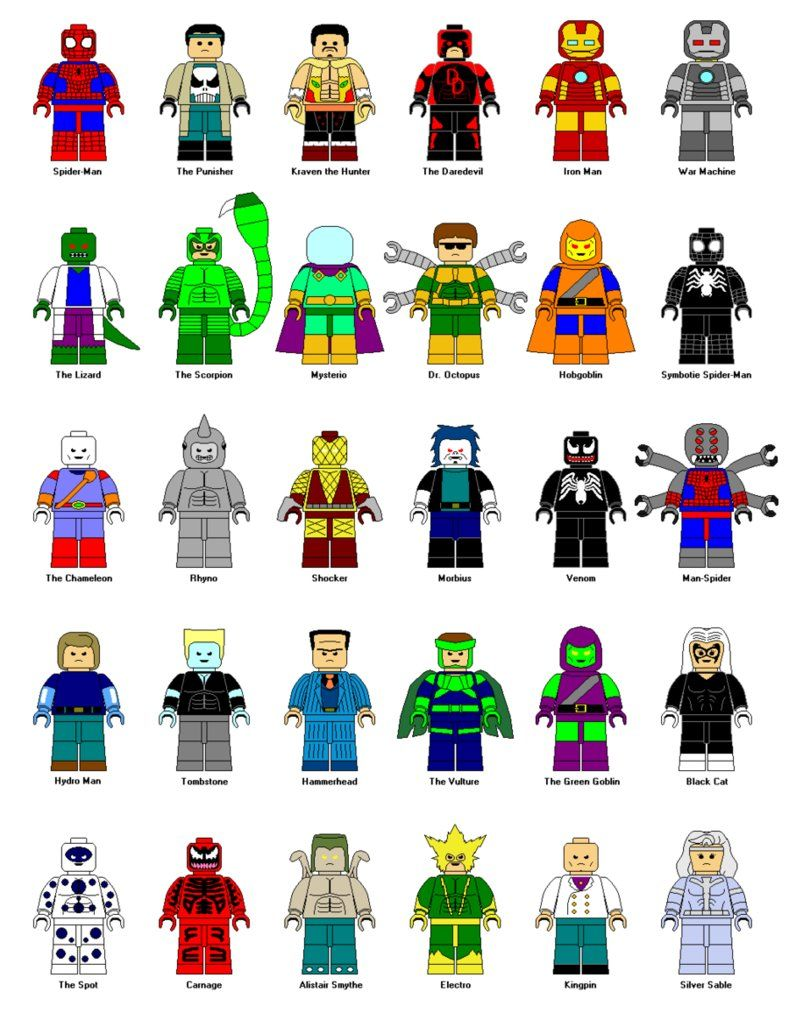 Lego spiderman clipart black and white library LEGO Spider Man Characters Clipart | school age | Lego ... black and white library