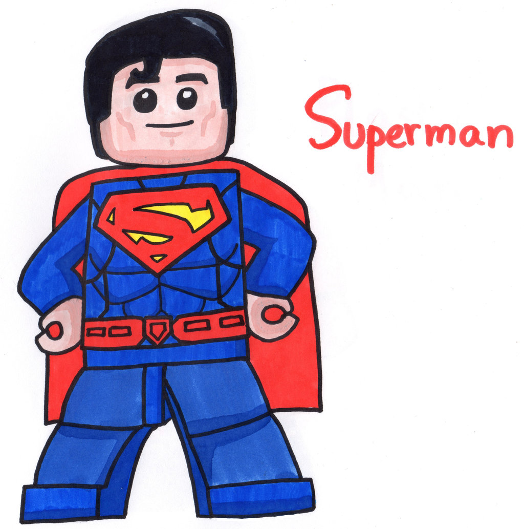 Lego superman clipart image black and white Lego Superman by YouCanDrawIt on DeviantArt image black and white