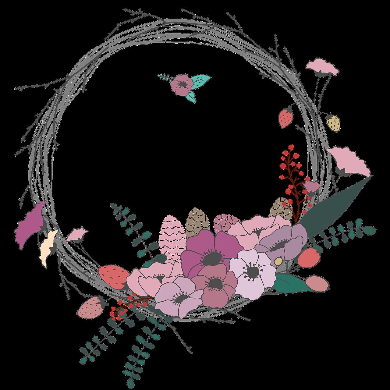 Spring flower wreath clipart image freeuse download Gratis obraz na Pixabay - Kwiaty, Gałązka, Korona, Wieniec | BULLET ... image freeuse download