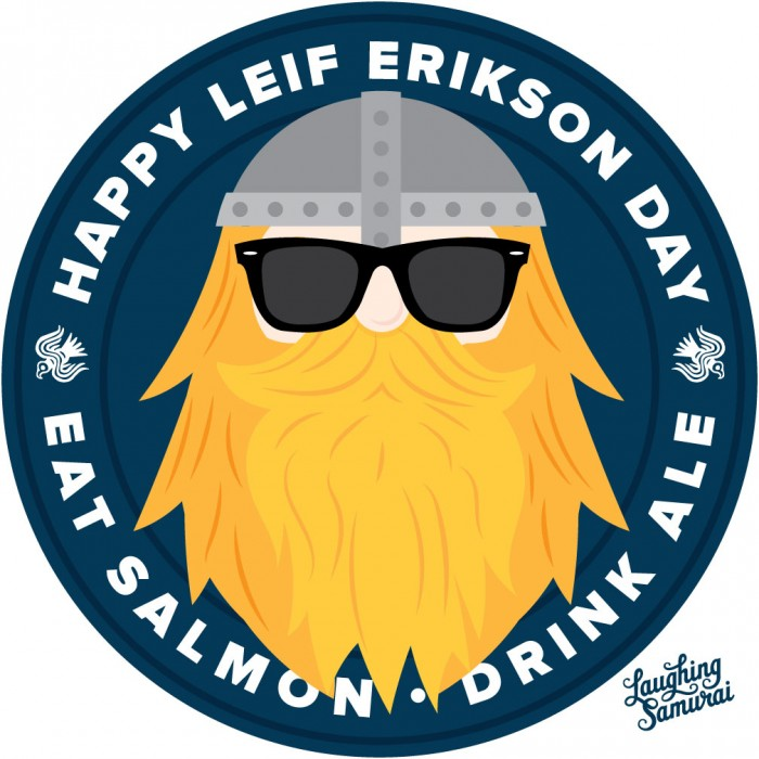 Leif erikson day clipart banner transparent library Happy Leif Erikson Day Eat Salmond Drink Ale banner transparent library