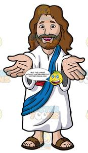 Lending a hand at christmas clipart vector black and white Jesus Christ Lending His Hands And Welcoming Us vector black and white