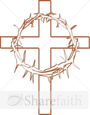 Lent cross with crown of thorns clipart graphic freeuse library Crown of Thorns with Cross Outline | Cross quilt | Cross clipart ... graphic freeuse library