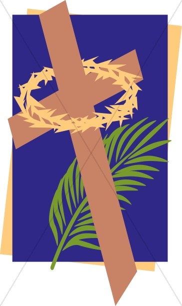 Lent cross with crown of thorns clipart banner black and white library Lenten Cross with Thorny Crown and Palm | Lent Clipart banner black and white library