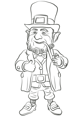 Leprechaun clipart images to color png black and white stock Leprechaun coloring page | Free Printable Coloring Pages png black and white stock