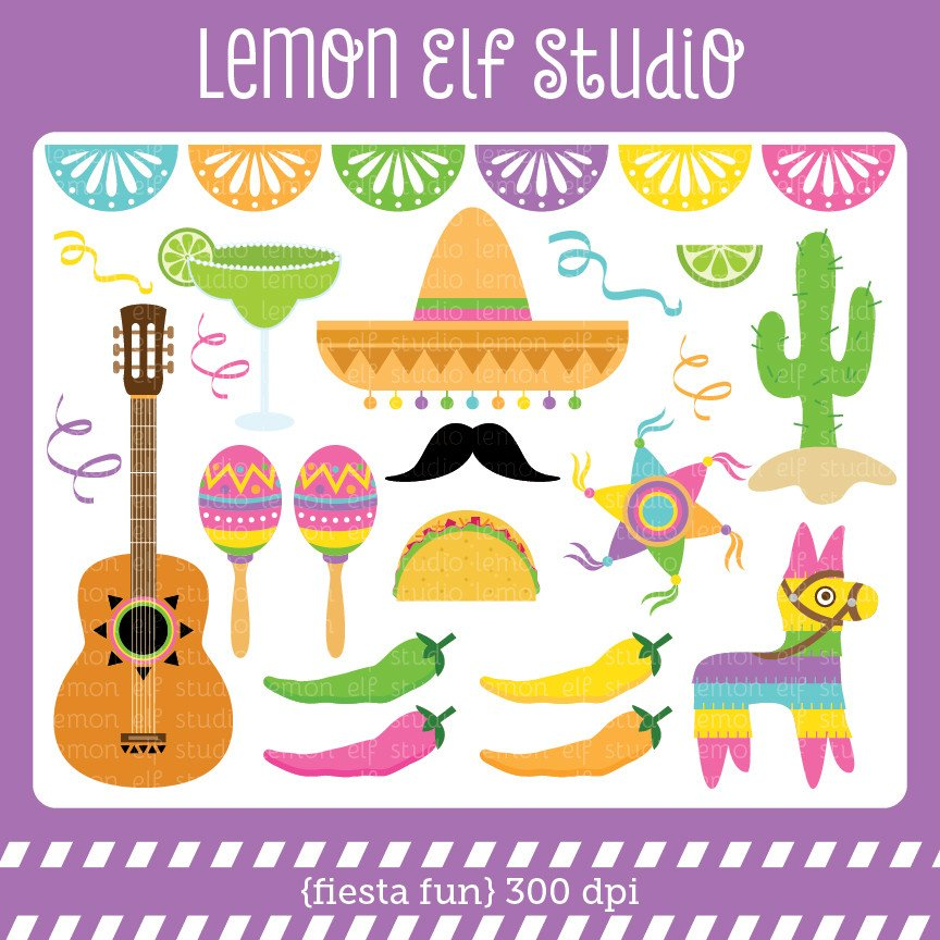 Les cliparts picture black and white Fiesta Fun-Digital Clipart (LES.CL30B) – Lemon Elf Studio picture black and white
