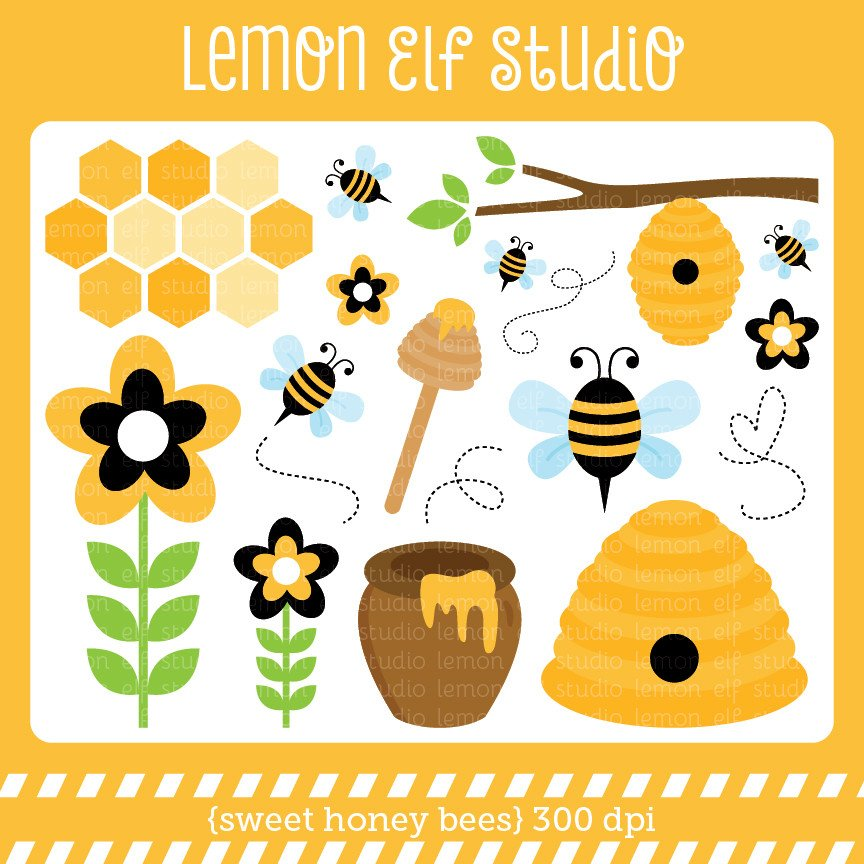 Les cliparts svg royalty free Sweet Honey Bees-Digital Clipart (LES.CL54) – Lemon Elf Studio svg royalty free