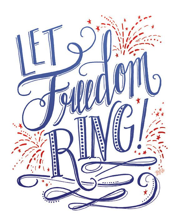 Let freedom ring clipart vector freeuse library Fourth Of July Printable Sign Let Freedom Ring by LilyandVal | hand ... vector freeuse library