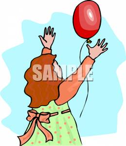 Let go clipart royalty free A Colorful Cartoon of a Girl Letting a Red Balloon Go - Royalty Free ... royalty free