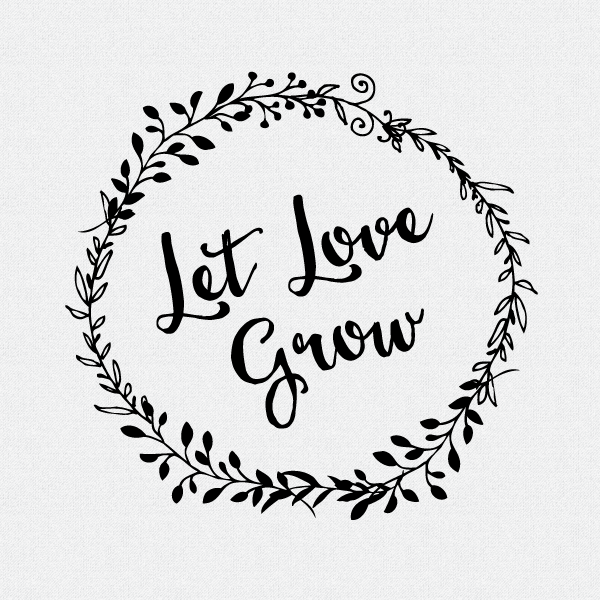 Let love grow clipart vector black and white Let Love Grow Wedding Favor Stamp - Style #W12 vector black and white