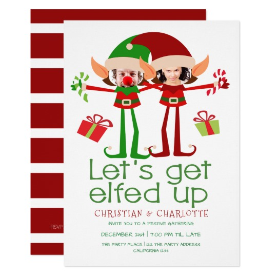Let s get elfed up clipart clipart library Lets Get Elfed Up Funny Christmas Personalized Invitation clipart library