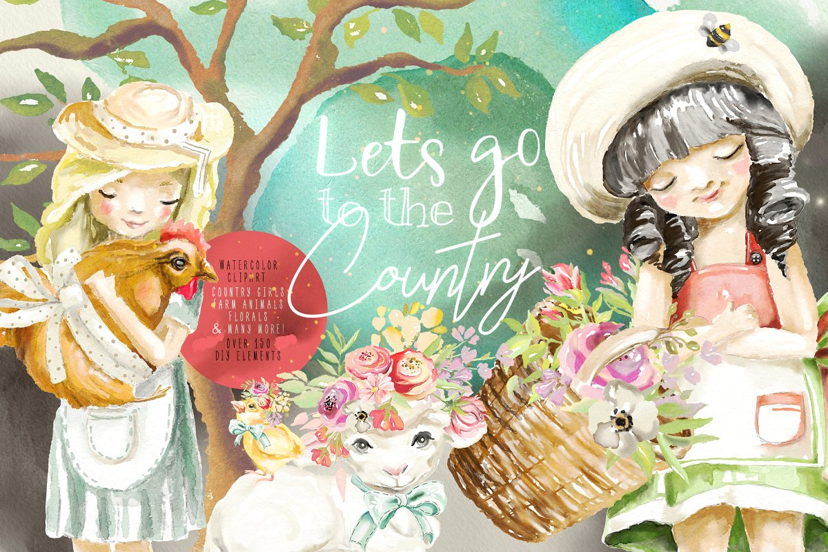 Let s go on an adventure dog clipart clip art royalty free stock Let\'s Go To The Country ~ Illustrations ~ Creative Market clip art royalty free stock